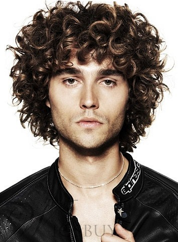 Handsome Curly Full Lace Wig for Men 100% Human Hair
