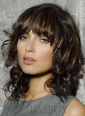 Bob Hairstyle Shoulder Length 14 Inches Curly Human Hair Wigs