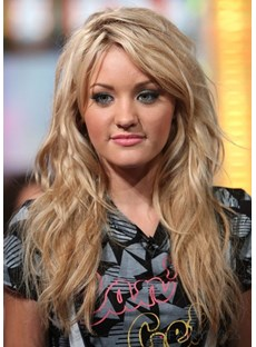 Free Style Sweet Long Layered Loose Wavy Blonde 100% Human Hair Custom Lace Wig 20 Inches