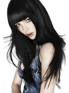 Fashion New Arrival Long Straight Layered Black 100% Human Hair Wig 20 Inches