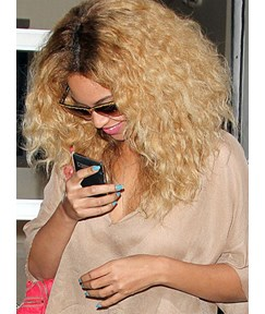 Beyonce Hairstyle Pretty Ombre Medium Wavy Lace Front Wig 100% Human Hair 16 Inches