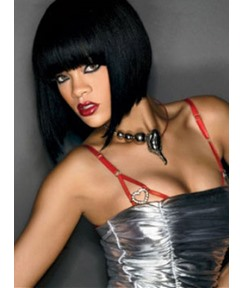 Rihanna Bob Hairstyle Chic Short Straight Black 100% Human Hair Wig 10 Inches