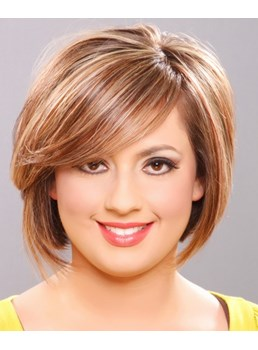 Fashion Graceful Boutique Short Straight Glueless Lace Front Wig 100% Human Hair 8 Inches