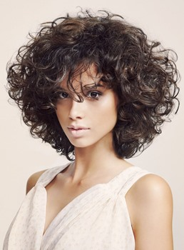 Fashion Trendsetting Fluffy Medium Curly Bob Hairstyle 150% Heavy Hair Density Full Lace Wig 12 Inches