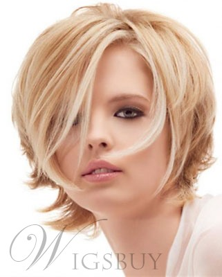 Cute Messy Hairstyle Short Layered Loose Wavy Blonde 100% Human Hair Lace Wig 8 Inches