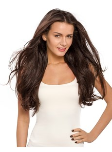 Fascinating Custom Vogue Wig Long Body Curly Color #2 100% Human Hair 24 Inches Full Lace Wig