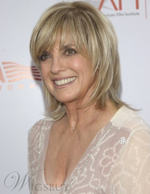 Linda Gray Hairstyle Short Layered Straight Human Hair Wigs for Older Women