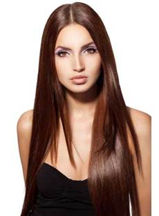 Super Smooth Long Silky Straight Chestnut Brown Lace Front Wig Synthetic Hair 22 Inches