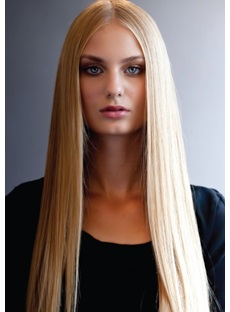 Natural Long Silky Straight Blonde 100% Remy Human Hair Full Lace Wig Top Quality 22 Inches