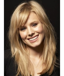Graceful Long Layered Straight Blonde 100% Real Human Hair Lace Front Women Wigs 16 Inches
