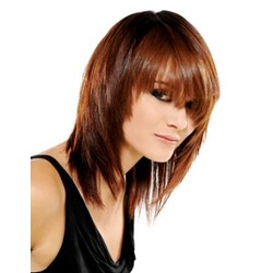 Fashion Medium Straight Layered Soft 100% Real Human Hair Cheap Wig 14 Inches