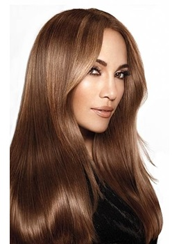 High Quality Jennifer Lopez Long Smooth Straight Excellent 100% Virgin Human Hair Full Lace Wig 18 Inches