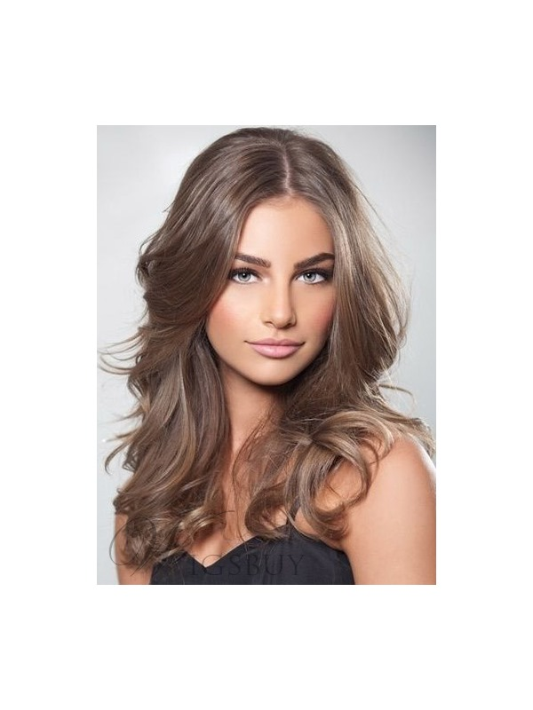 Fashion Top Quality 100% Real Virgin Human Hair Long Wavy Full Lace Wigs 18 Inches