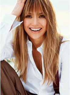 New Fashion Jennifer Lopez Natural Hairstyle Long Straight 100% Real Human Hair Wig 20 Inches