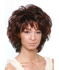 Short Curly Dark Brown Mixed Color Layered Hairstyle with Full Bangs Capless Synthetic Hair 10 Inches