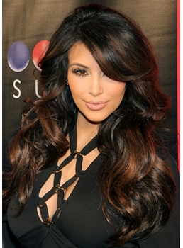 Kim Kardashian Charming Long Natural Wavy Dark Brown Front Lace Wig 22 Inches