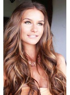 Beautiful Long Curly Hair Lace Front Wig 100% Human Hair 22 Inches