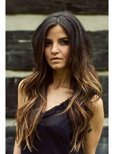 New Arrival Long Wave Ombre Color 24 Inches 100% Human Hair Full Lace Wig