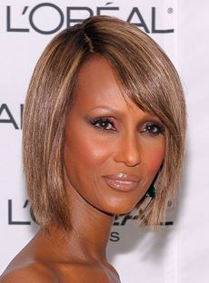 Iman Hairstyle Short Bob 100% Human Hair Mixed Color Lace Front Wig 10 Inches