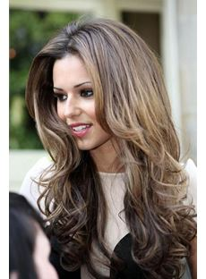 Fabulous Pretty Long Wavy High Quality 100% Human Hair Lace Wig 22 Inches