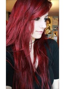 Celebrity Attractive Fascinating Red Long Full Lace Wig 100% Human Hair 22 Inches