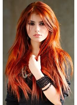 Beautiful Red Long Natural Straight Lace Front Wig With Side Apart Bangs Synthetic Hair 24 Inches