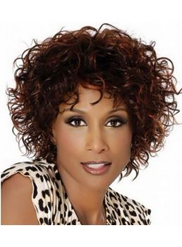 Glamourous Saleable Afro Top Quality Short Curly Brown 100% Human Hair Capless Wig 10 Inches