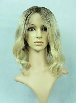 Fluffy Medium Bob Human Hair Full Lace Wig 16 Inches