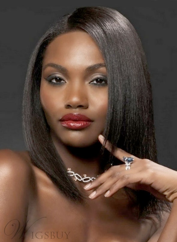 Glossy Elegant Top-Quality American African Trendy Medium Straight Front Lace 14 Inches 100% Human Hair Wig 10787144