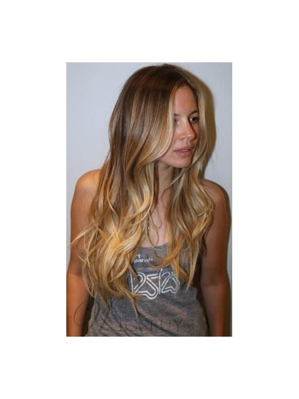 Best Selling Attractive Ombre Long Wave 22 Inches Human Remy Lace Wig