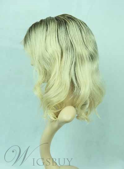 Top Selling Life Fluffy Natural Medium Wave 100% Human Hair Full Lace Wig 16 Inches