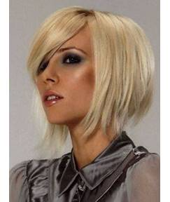 New Arrival Tilted Frisette Hairstyle Medium Straight 10 Inches Lace Wig