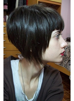 New Arrival Chic Short Straight Bob Hairstyle Black Synthtic Wig