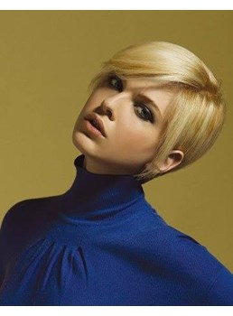 Nuovo arrivo spensierata Short Straight Hair Light Blonde umano parrucca