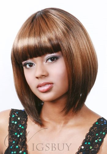 Super Sweet Bob Hairstyle Natural Looking With Full Bang Synthetic Wig