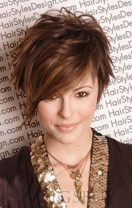 Newest Short Hairstyle Layered Cut With a Long Fringe Human Hair Wig