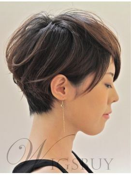 Short Straight Human Hair Capless Women Wigs