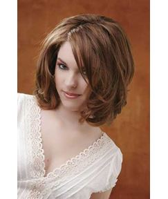 Hot-Sale Cute Neat Carefree Loose Wavy Medium-Length Thick Brown 100% Human Hair Front Lace Wig 14 Inches