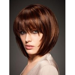 Carefree Amazing Cool Brown Short Straight Bob Capless Remy Human Hair Wig with Bangs 8 Inches