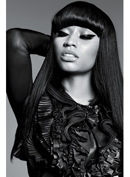 Nicki Minaj Black Hair With Full Bangs Long Straight Synthetic Hair 20 Inches