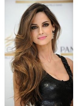 Luxury Loose Premier Polished Brown with Black Long Wavy Lace Front 100% Human Hair Wig 24 Inches