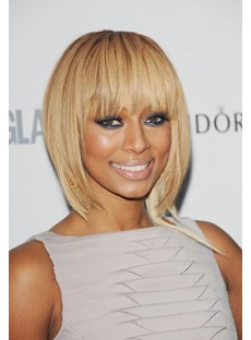Light Silky Keri Hilson Straight Blonde Medium-Length Remy Human Hair Capless Wig 16 Inches