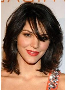 Pretty Charming Brown Short Natural Casual Wavy Remy Human Hair Capless Wig 14 Inches