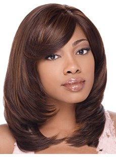 Fashion Medium Mixed Color Capless Synthetic Wig 14 Inches