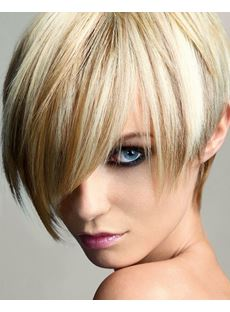 Fashion Unique Short Straight Mixed Color With Highlight Synthetic Hair Wig