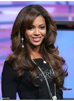 Beyonce Natural Wavy Long Black with a Little Brown 100% Human Hair Front Lace Wig 22 Inches