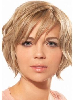 High Quality Carefree Light Cool Blonde Wavy Short Synthetic Capless Wig 8 Inches