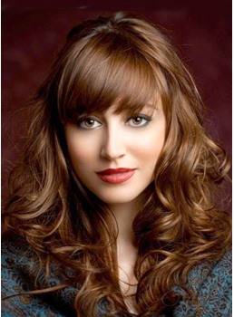 Amazing Long Brown Curly Hair Styles for Women Remy Human Hair Capless Wig 20 Inches