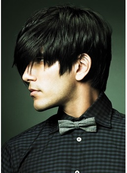 Short Straight Natural Black Wig Mono Top 100% Human Hair Men's Hairstyle