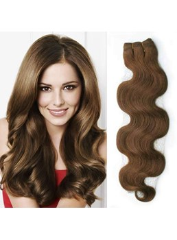 Wavy Brown 7PCS Clip in Hair Extensions Real Human Hair 100g